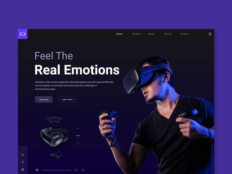 Virtual Reality - Landing Page Design trending ui ui trend digital typography creative web app ui design clean header vr design website minimalism inspiration conceptual ux ui landing page web page virtual reality