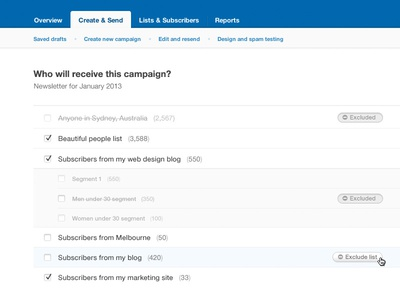 Exclude lists from campaigns campaign monitor list exclude ui interface