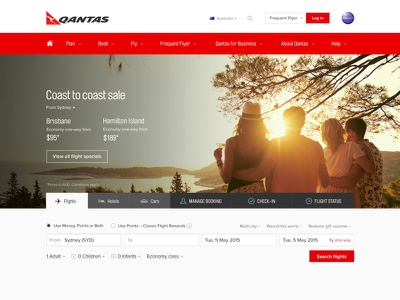 Qantas homepage refresh booking airline website homepage