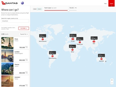 Qantas map-based flight search slider lists filters destination travel flight search map