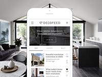 Interior design news feed interior design website news feed list design ui design user interface