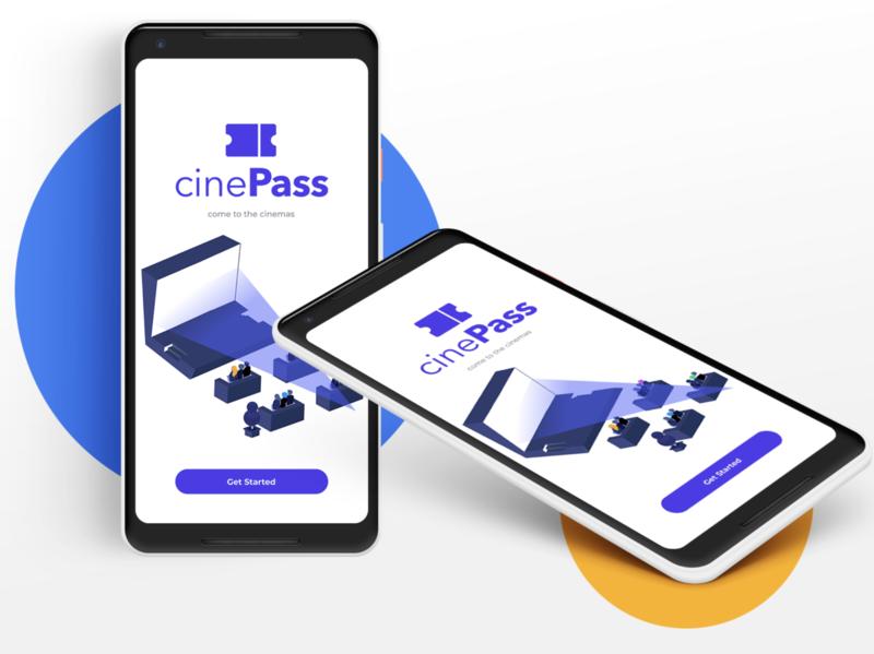 cinePass - e-commerce subscription concept mobile application branding mobile landing page shot mobile app design figma ecommerce logo illustration ux ui app