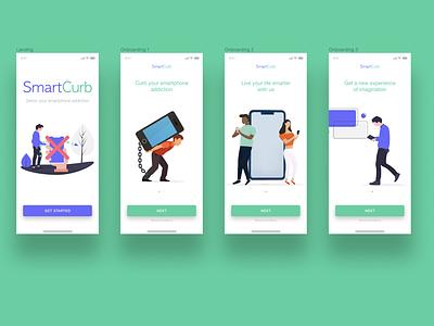 SmartCurb - A smart app to detox your smartphone addiction smart app mobile landing page onboarding screens illustration design ui ux ui  ux product design mobile app design figma branding app
