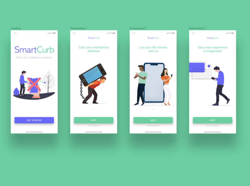 SmartCurb - A smart app to detox your smartphone addiction smart app mobile landing page onboarding screens illustration design ui ux ui  ux product design mobile app design figma branding app
