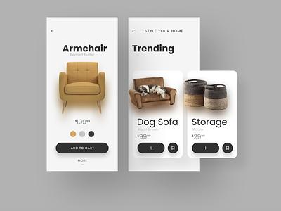 e-commerce app for furniture & home goods shot ecommerce ui design ux ui  ux product design mobile app design figma app