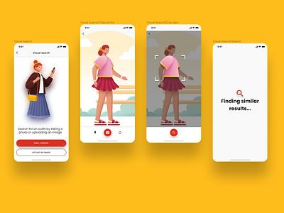 Visual search capability in an e-commerce app shot illustration ecommerce ui design ux ui  ux product design mobile app design figma app