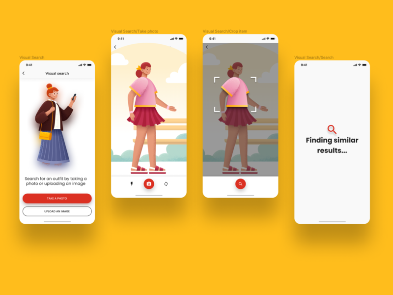 Visual search capability in an e-commerce app shot illustration ecommerce ui design ux ui  ux product design mobile app design figma app