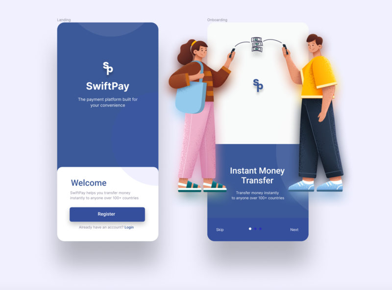 Instant money transfer app cash app shot onboarding screen mobile landing page figma application design illustration branding ui design ux ui  ux product design mobile app design app