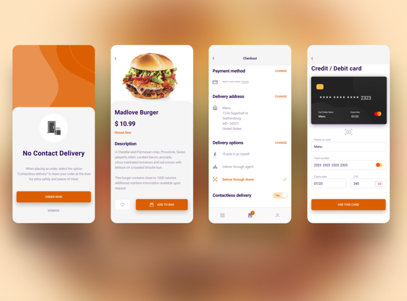 Food delivery app - contactless delivery figma shot minimal uidesign food app payment method contactless covid19 food delivery app mobile app mobile application design branding ui design ux ui  ux product design mobile app design app