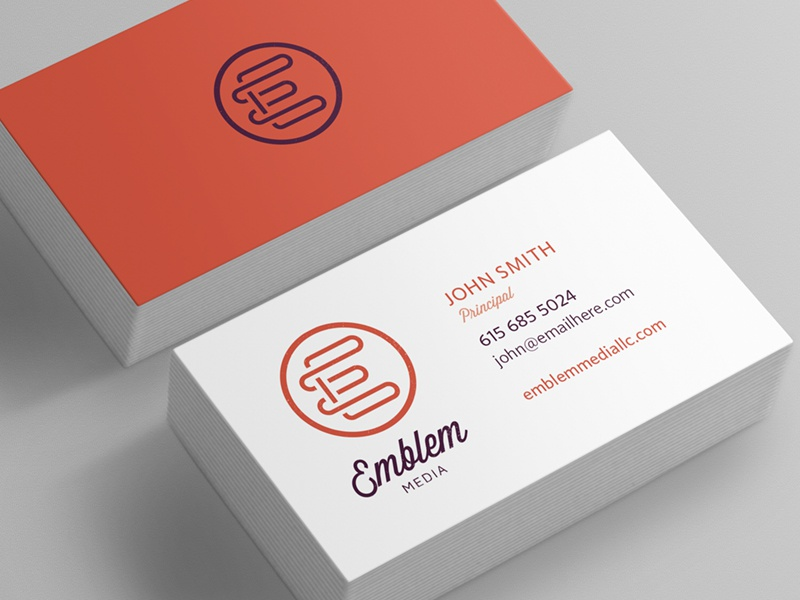 emblem media business card concept by erik peterson dribbble