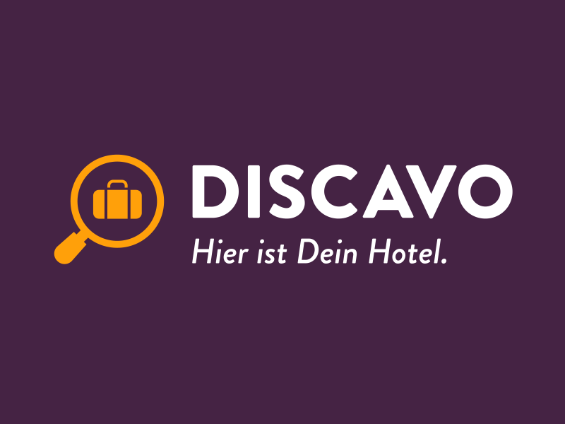 Discavo Logo logo travel icon hotel magnify bag