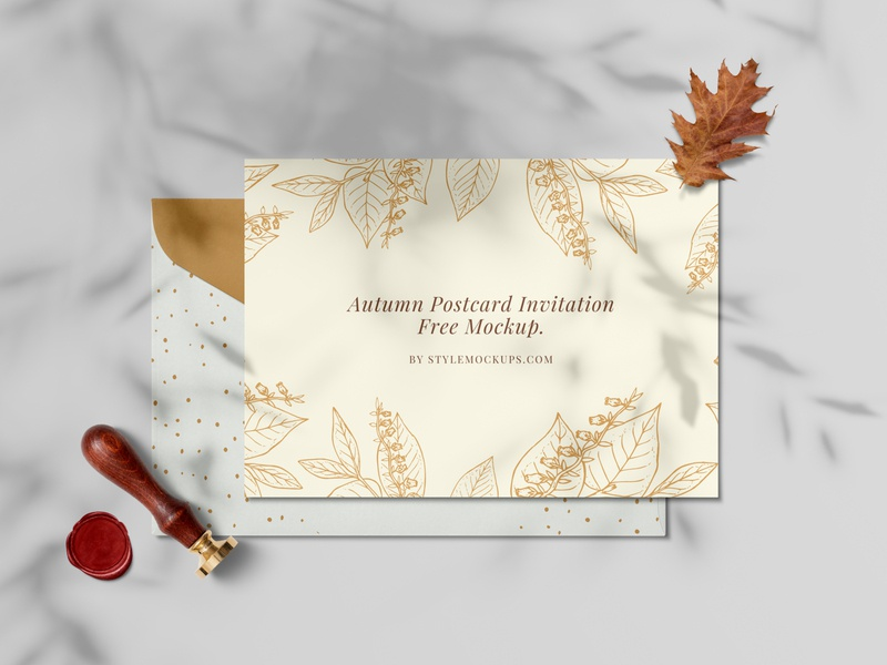 Autumn Invitation Card Free Mockup freebie mockup design psd mockup mockup free mockups card template card design invitation cards invitation card autumn collection autumn party autumn leaves autumn flyer