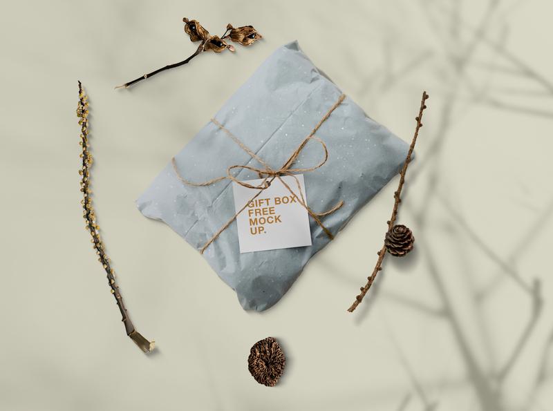 Gift Box in Pillow Free Mockup free mockup psd free mockups free mockup