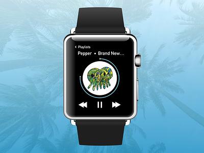 Apple Watch Music Player apple watch mockup dailyui009 music player music apple watch design smart watch apple watch daily challange ui daily ui sketch dailyui sketchapp