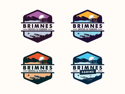 Brimnes Hotel & Cabins Logos blue hiking mountain natureboy retro badge badge logo landscape nature camping outdoors adventure cabins