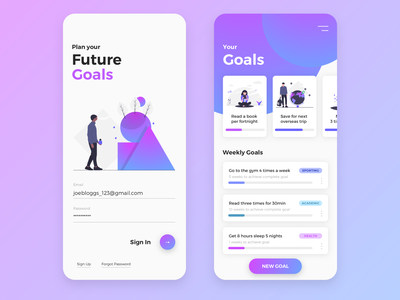Goal Tracking App goals goal tracking app design illustration ux mobile ui mobile app design mobile app ui design app