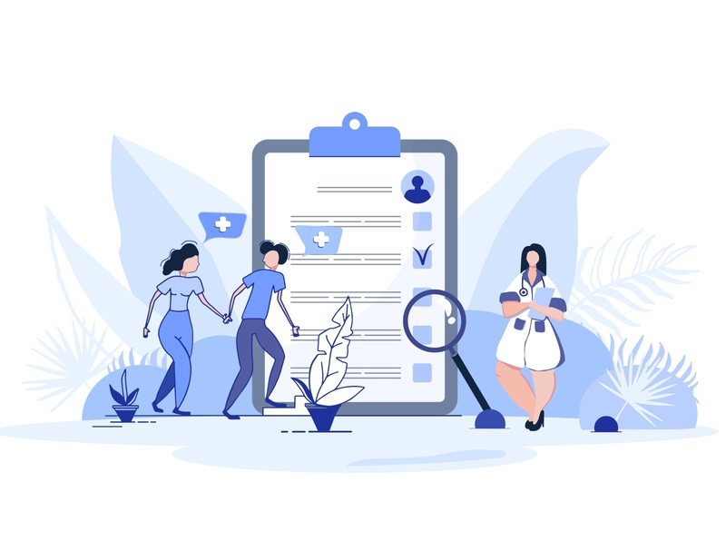 Flat mini persons concept. Medical examination. Medical record. flat  design mini persons medical record vector people couple man girl medical concept medical examination doctor young people child planning child planning vector flat design people flat illustration