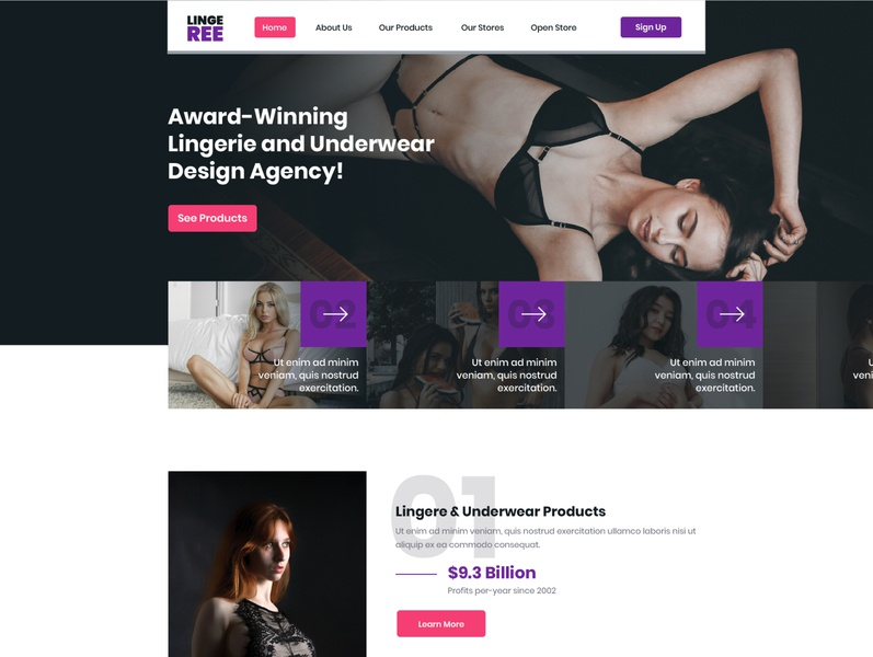 LINGEREE Homepage user interface user experience user interface image unsplash swimsuit bikini pink purple black dark elegent sexy underwear lingerie ux ui designs website