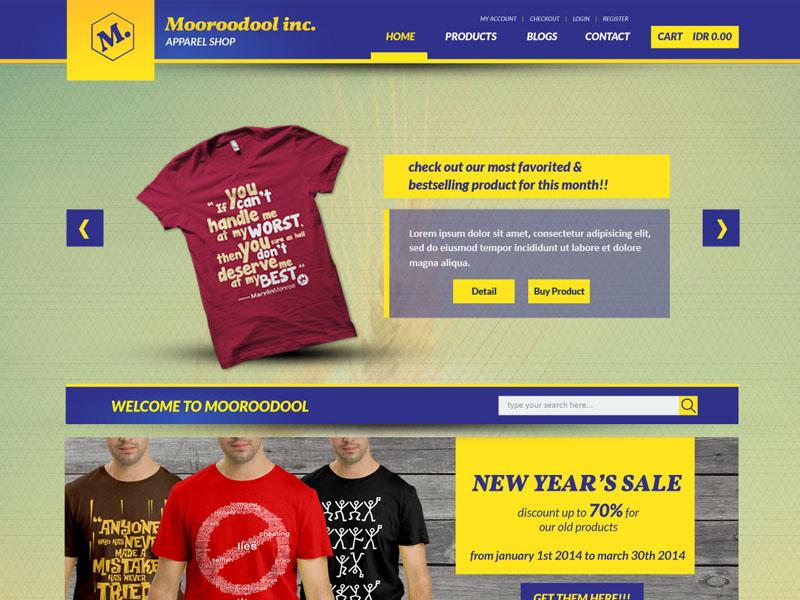 Mooroodool Inc Free E-Commerce PSD free freebies wesbite psd theme e-commerce online shop blue yellow product mock up ui