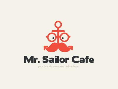 Mr Sailor Cafe logo design anchor moustache glasses face cafe sailor gentlemen icon object