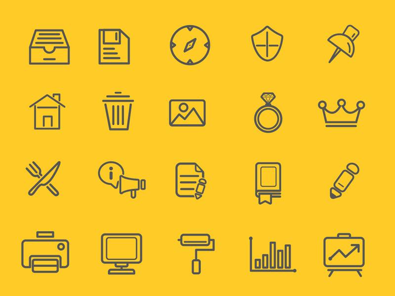 FREEBIES - 75 Various Outline Icon Set freebies free icon set line outline flat pika archive creative design