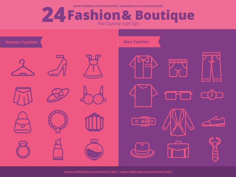FREEBIES - Fashion And Boutique Outline Icon accessories bag shirt shoes women men boutique fashion flat line outline icon