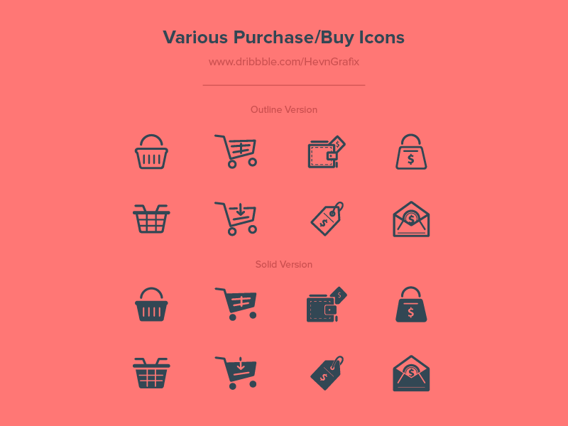 FREEBIES - Various Purchase/Buy Icons coins money wallet cart e-commerce buy purchase solid outline icon freebies free