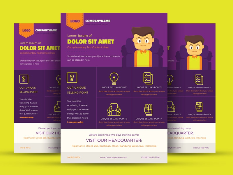 FREE Colorful Illustrated Corporate Flyer Template flat yellow purple icon office template flyer corporate vector illustration colorful free