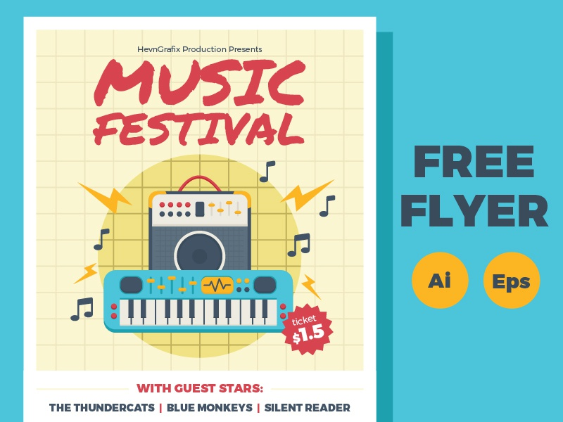 FREE Music Festival Flyer note keybiard amplifier guitar illustration template poster flyer festival music freebies free