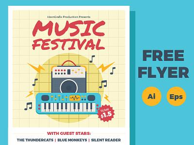FREE Music Festival Flyer note keybiard amplifier guitar illustration template poster flyer festival music freebies free
