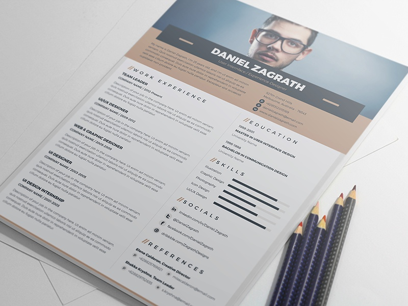 Free Elegant Resume  Cv Template By Monsterlele Studio  Dribbble