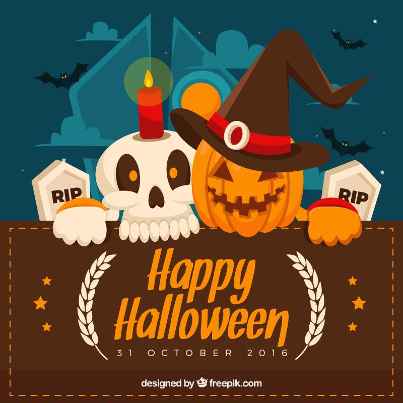 Flat halloween greeting cards 72dpi