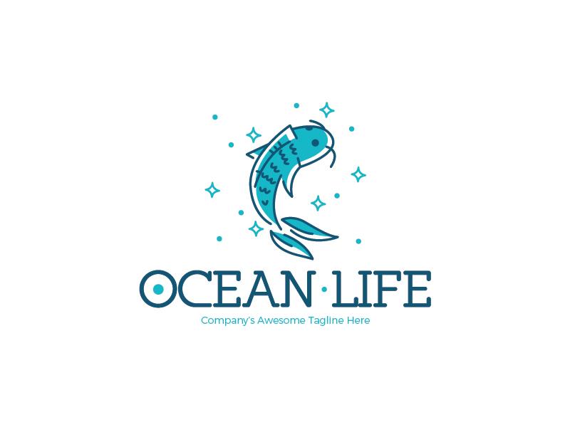 Ocean Life Logo food sea culinary restaurant blue splash stars fish life ocean line logo