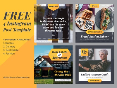 FREE 4 Instagram Post Template unsplash gold classy elegtant psd template post social media instagram freebies free