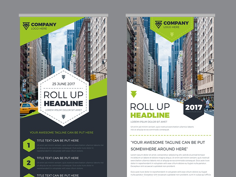FREE Business Roll Up Banner green template business x-banner banner roll up freepik freebies free