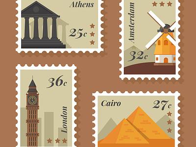 FREE 8 City Stamp vector landmark illustration stamp country city freepik freebies free