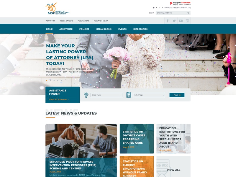 Ministry of Social and Family Development Website UI government development family social singapore msf website ux design ui