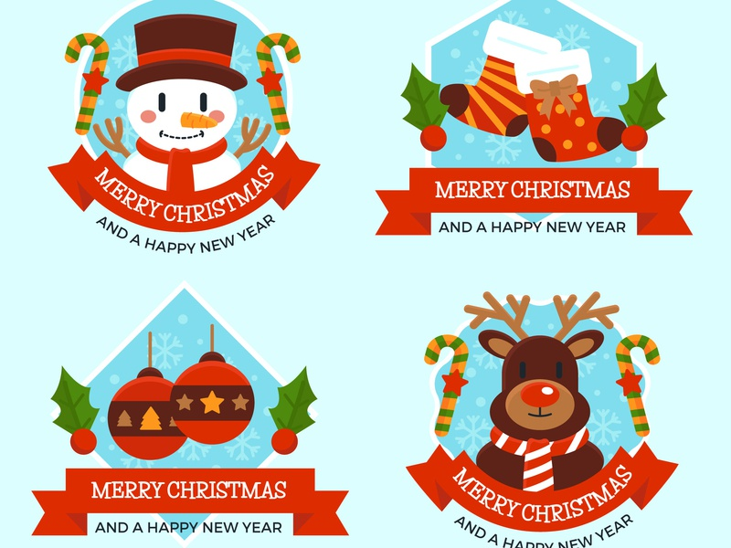 Christmas Label Collection deer snowman badge label christmas freepik free icon illustration vector