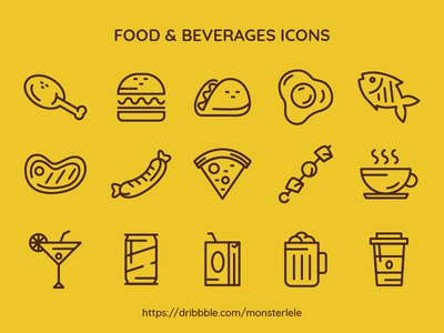 FREE Food & Beverages Icon Set illustration ui fun cute monocolor outline line minimal beverages food icon icon set