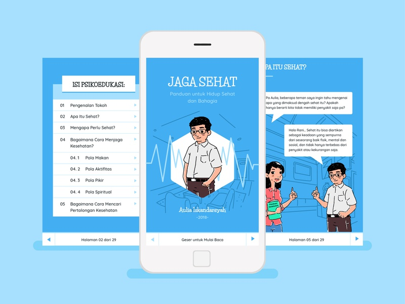 JAGA SEHAT Apps mobile blue consultation health medical ux ui e-books application digital e-book apps jaga sehat