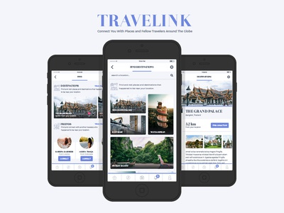 TraveLink App UI blue guide direction map backpack traveler travel application mobile ux app