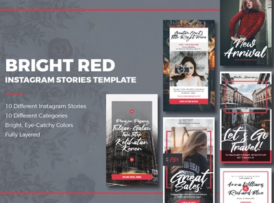 Bright Red Instagram Stories Template book chapter travel photography culinary script handwritten template clean elegant red quote event sales product instagram template story instagram