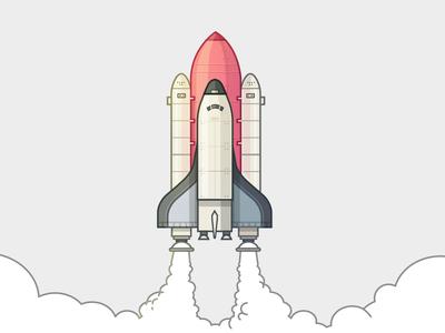 Illustration of rocket launch vector design flat ui web line space illustration rocket