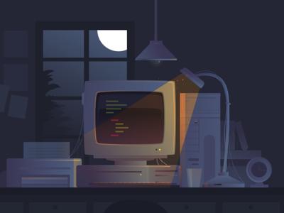 Illustration - late night coding sketch design developer flat website vector illustration night ui code