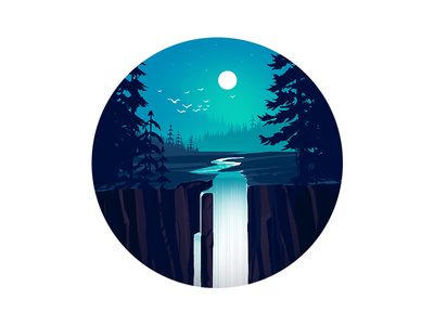 Waterfall illustration design illustration background hills mountain nature forest river illustration vector waterfall
