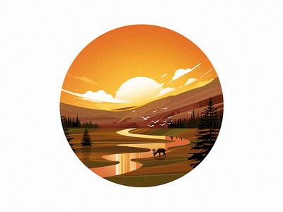 Sunset & River illustration sunset web ui sketch illustrator vector green nature illustration