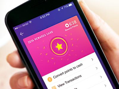 Zeta Rewards UI Card illustration flat ux background card app ui