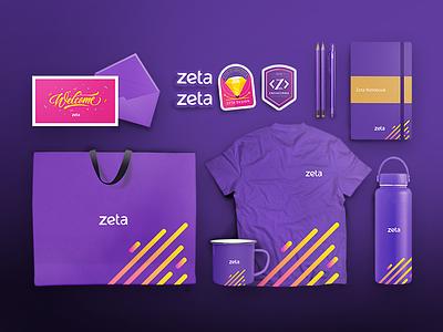 Branding branding kit designer book design t shirt bag stickers swag welcome zeta