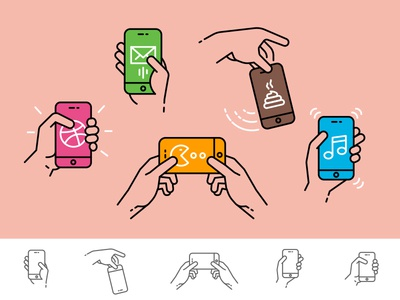 Linear hands icons
