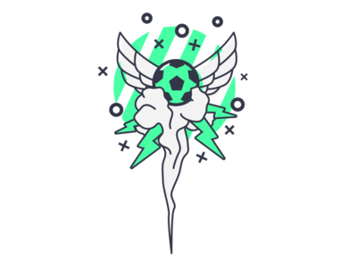 Soccer Illustration Exploration explosions wings sports soccer